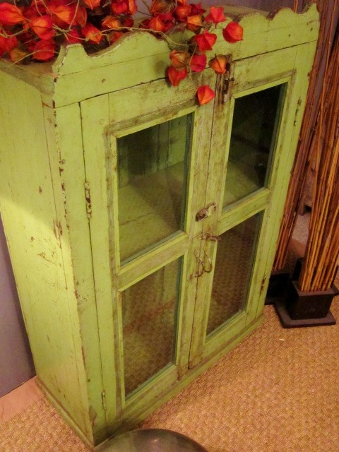 - Vintage Bright Green Glass Cabinet - View in Your Room! | Houzz