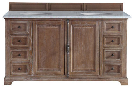 Providence Double Vanity, Driftwood, Arctic Fall Top, 60.