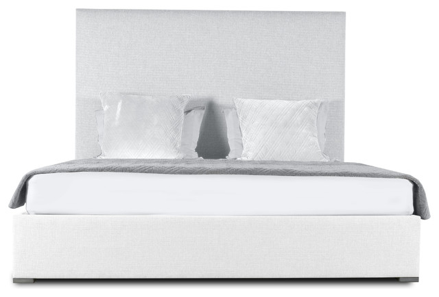Audrey Plain Upholstery Mid Height King Size Bed, White.