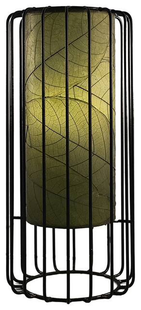 Eangee Home Designs Green Cocoa Fossilized Leaves Diffusor Wired Table Lamp.