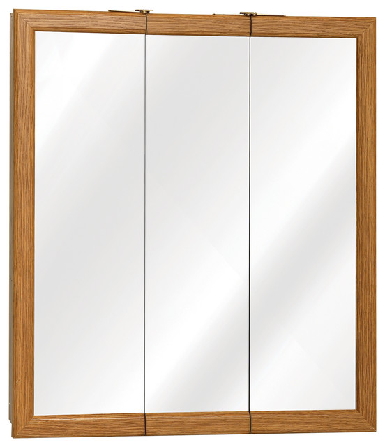 Zenith Oak Framed Tri View Medicine Cabinet Contemporary