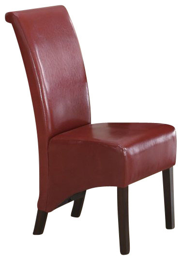 monarch specialties parson chair burgundy set of 2 chairs