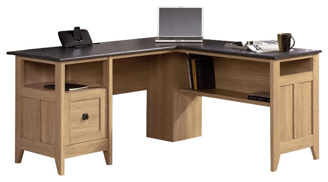 Shop Houzz Sauder Sauder August Hill L Desk In Dover Oak