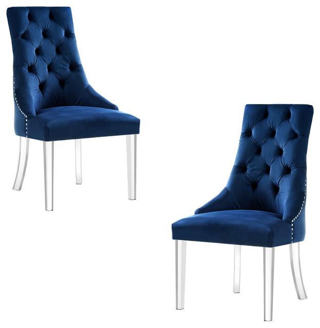 Naomi Armless Acrylic Leg Dining Chairs Set Of 2 Contemporary