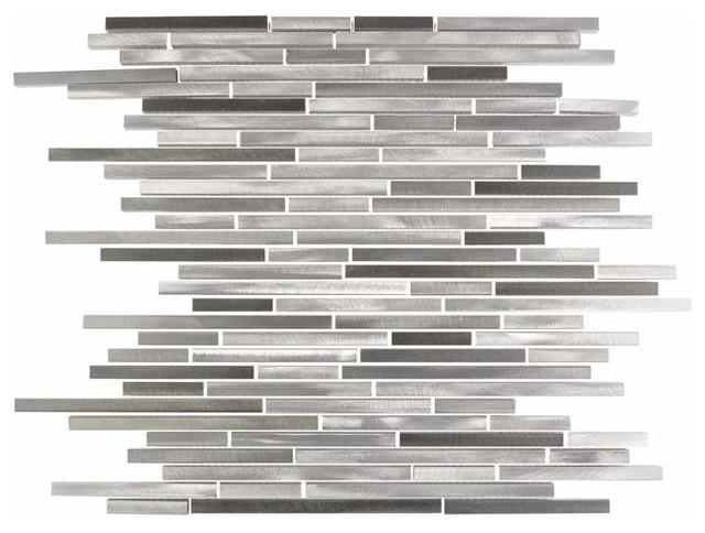 Miseno Alloy Thin Glass Visual Wall Tile Sheet, Gray.