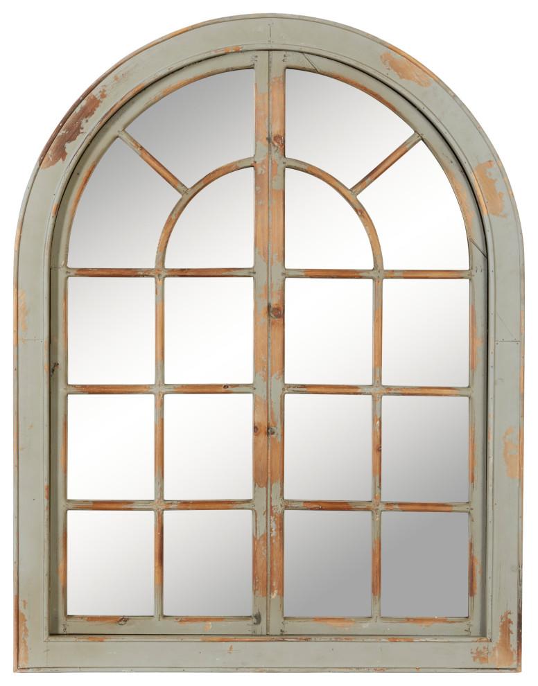 Farmhouse 48 X37 Classic Gray Arched Window Design Decorative Wall Mirror Farmhouse Wall Mirrors By Brimfield May