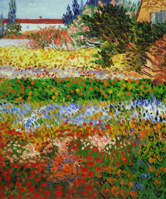 Charming Van Gogh   Flowering Garden With Path