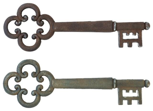 Set of 2 Decorative Wall Art Skeleton Keys Wood Antique Home Decor ...