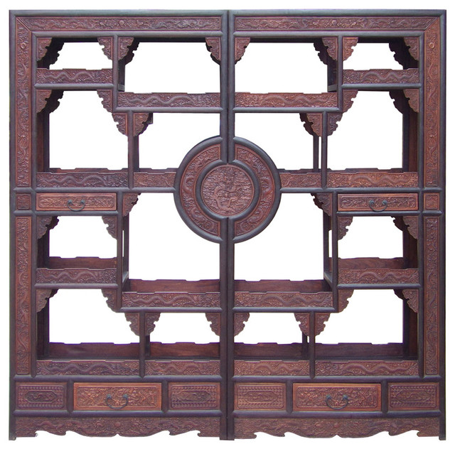 Chinese Pair Rosewood Display Curio Cabinet Room Divider Hcs1499 ...