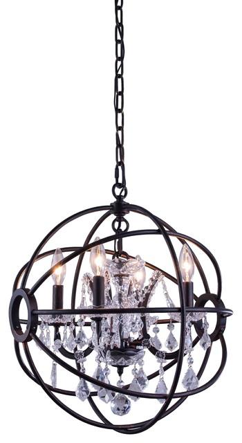 Geneva Collection Pendent Lamp, Clear Shade, Dark Bronze.