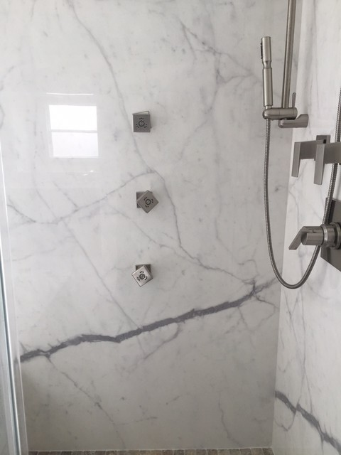 Captivating Porcelain Slab Shower Wall Contemporary