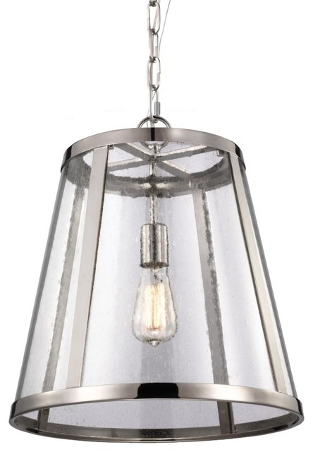 Feiss P1289pn Harrow 1-Light Polished Nickel Pendant.