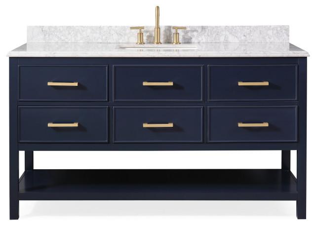 """60"""" Aruzza Navy Blue Contemporary Bath Vanity"""