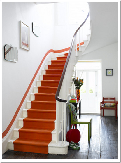 eclectic staircase Hermes Orange Staircase (via Colour Me Happy)