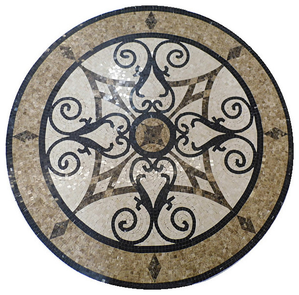 Circular Marble Inlay Flooring : Mosaic polished floor medallions tile medallion marble