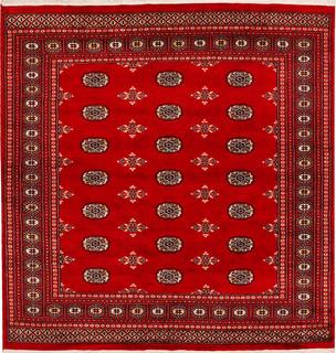 "Handmade Pakistani Bokhara Rug, Deep Red, 6'8"" x 6'10"" - Mediterranean - Area Rugs - by ALRUG"