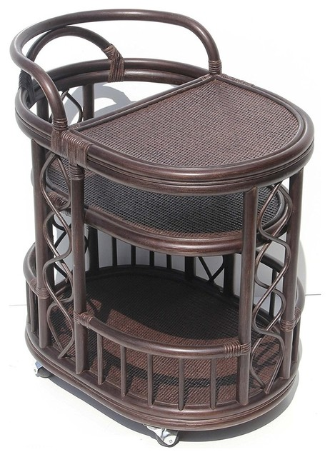 Trolly Serving Cart Bar Table Natural Rattan Wicker With Wheels, Dark Brown.
