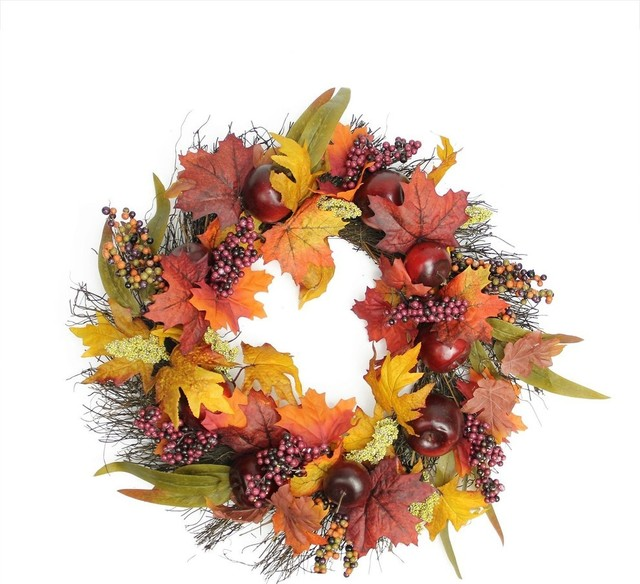 "22"" Autumn Harvest Apple, Berry and Leaf Artificial Thanksgiving Floral Wreath"