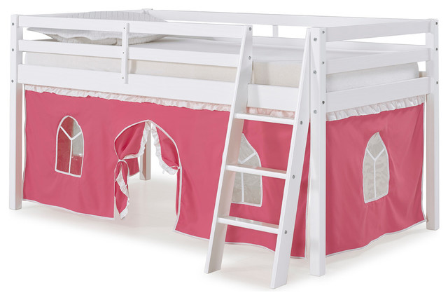 Roxy Twin Junior Loft Bed With Pink And White Tent, White.