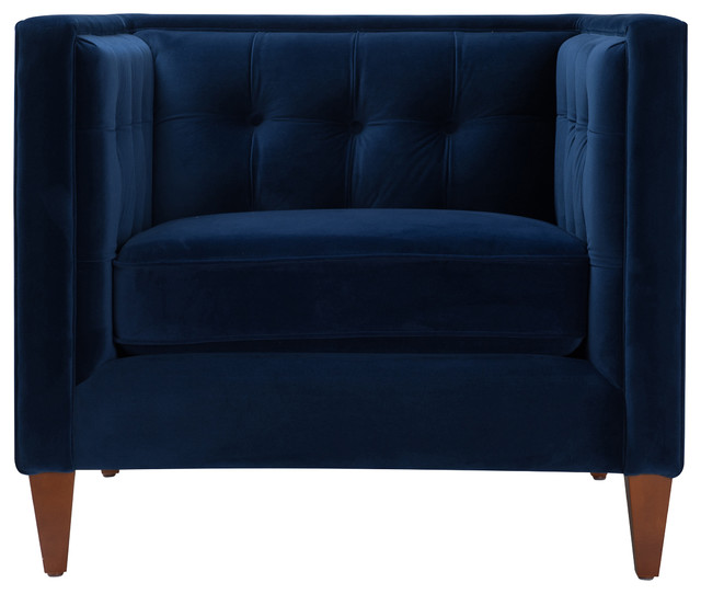 Arla Armchair Blue Velvet Transitional Armchairs And