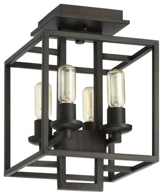 4-Light Semi Flush Mount Industrial Style Ceiling Light, Dining Room Ceiling.