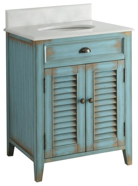 "Distressed Bathroom Vanities abbeville bathroom sink vanity, distressed blue, 26"" - farmhouse"