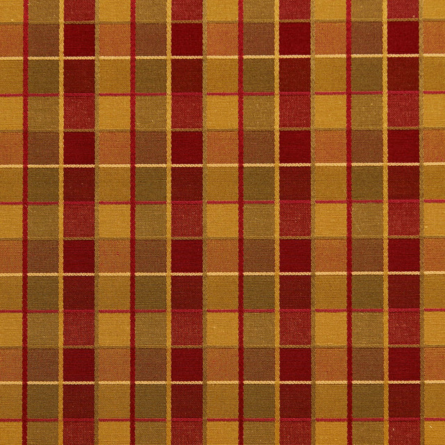 Red Gold And Green Checkered Luxurious Faux Silk Upholstery Fabric