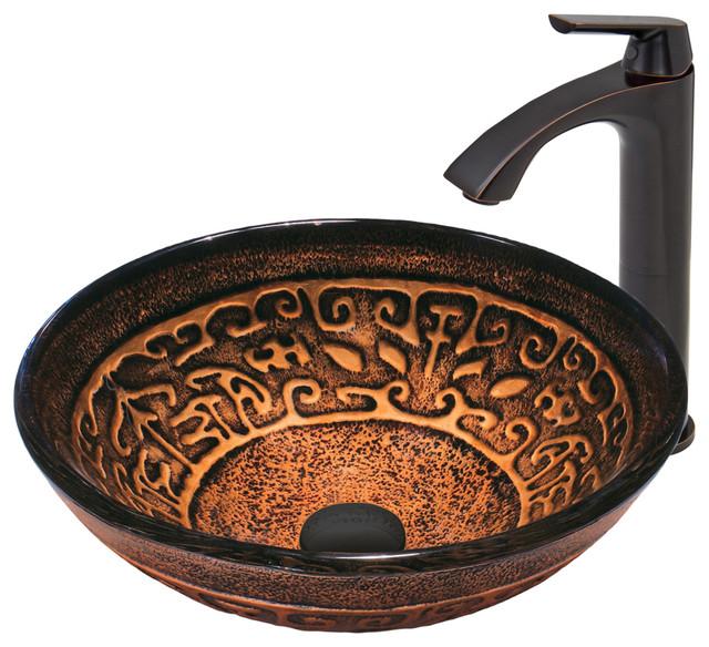 Vigo Golden Greek Glass Vessel Sink And Linus Faucet, Antique Rubbed Bronze.