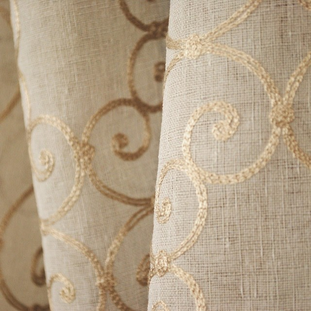 Concord Pistachio Sheer Embroidered Scroll Fabric