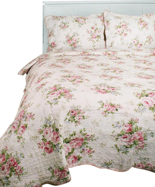 Textiles Plus Spring Rose 100% Cotton Quilt Set, Full/Queen
