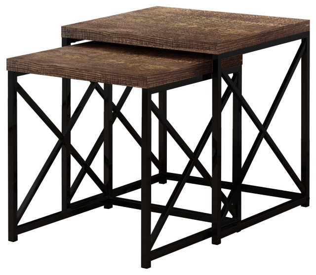 Black Metal Two Pieces Nesting Table