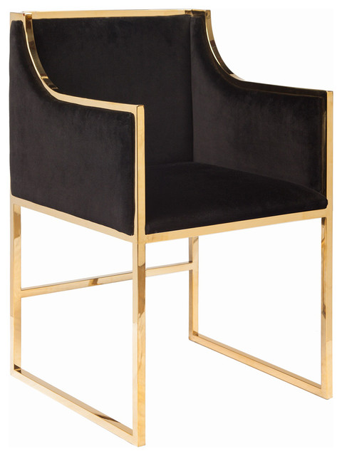 Worlds Away Velvet Dining Chair With Nickel Frame Dining Chairs Houzz