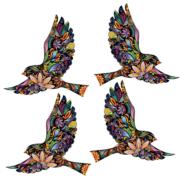 4 flying floral bird wall stickers for walls and windows