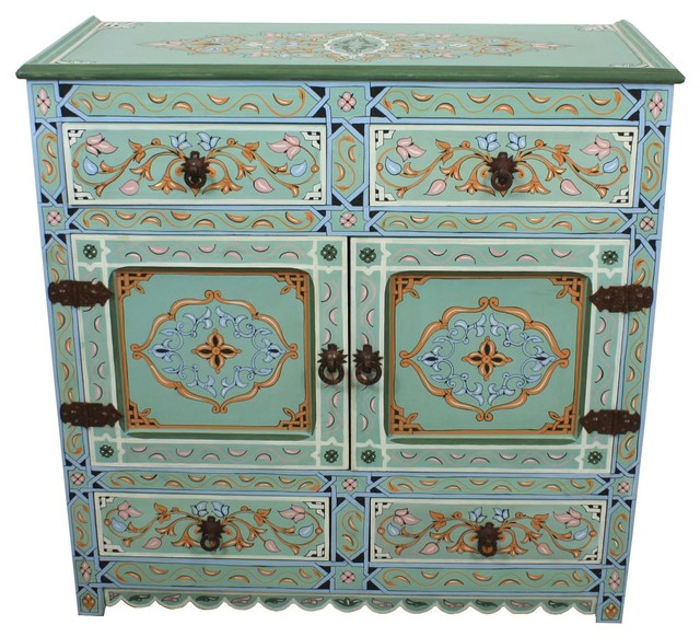Moroccan Hand Painted Wooden Cabinet, Light Green