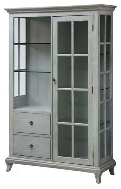 Meadowbrook 2 Drawer/1 Door Antique White 6 Glass Shelf Curio - Meadowbrook 2 Drawer/1 Door Antique White 6 Glass Shelf Curio