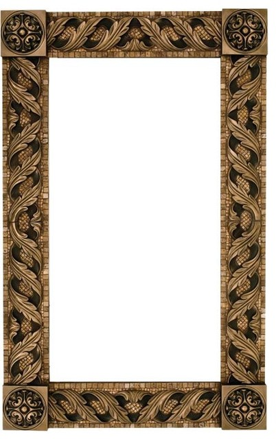 mosaic mirror frame with metal inlay mediterranean 20693