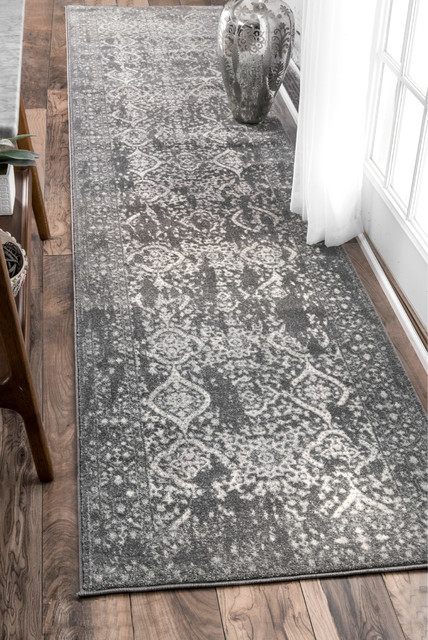 """Costa Floral Rug, Silver, 2'8""""x8'"""