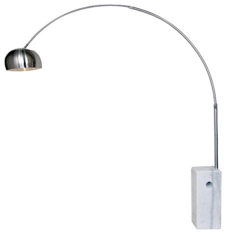The Arch Floor Lamp, Silver And White, Round.