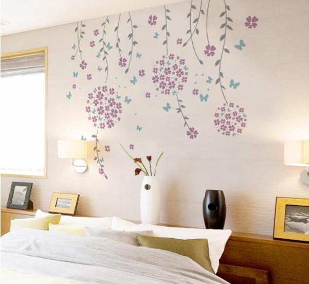 flower vines and butterflies, wall decal, - modern - wall decals