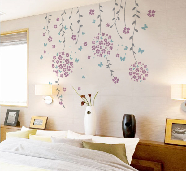 Flower Vines And Butterflies Wall Decal, Lilac Modern Wall Decals Design