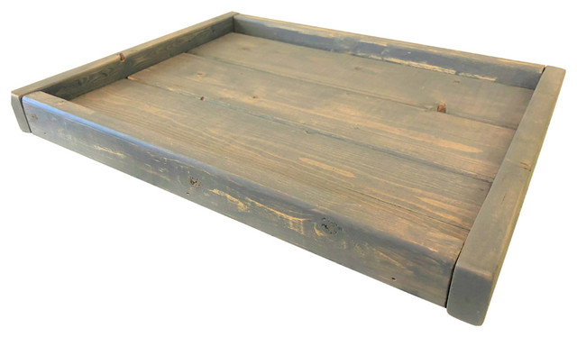 Pleasant Small Low Profile Distressed Coastal Gray Serving Coffee Table Tray Rustic Decor Short Links Chair Design For Home Short Linksinfo