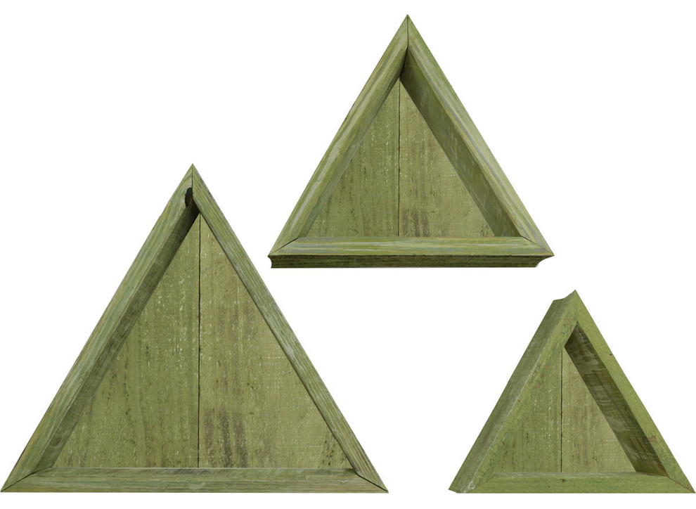 Set Of 3 Triangle Vintage Farmhouse Shadow Box Shelves Barnwood Decor Farmhouse Display And Wall Shelves By Ekena Millwork