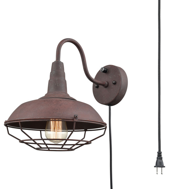 buy popular c9030 8e265 Industrial Rust Gooseneck Wall Sconce with Cage, Plug-in