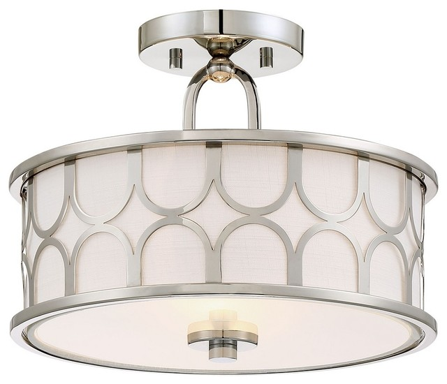 2-Light Semi-Flush, Polished Nickel.