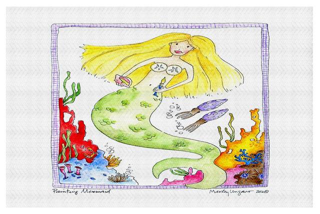 Painting Mermaid Area Rug, 37x22.5.