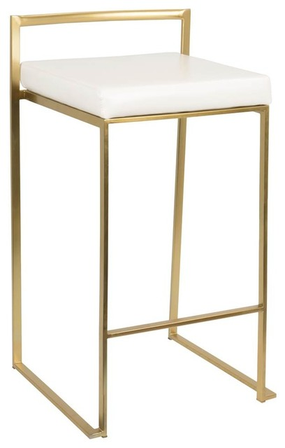 Contemporary Counter Stools, Gold And White, Set Of 2.