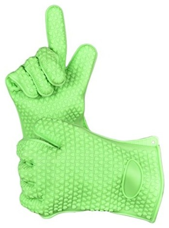 Welland Green Silicone Heat Resistant Cooking, Grill Gloves