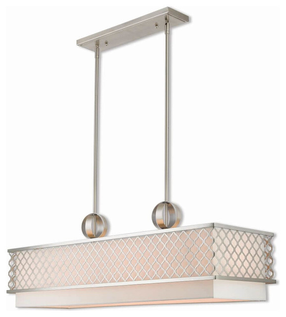9-Light Brushed Nickel Linear Chandelier, Brushed Nickel