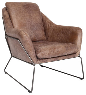 Merveilleux Lionel Leather Lounge Chair   Industrial   Indoor Chaise Lounge Chairs   By  Sleek Modern Furniture