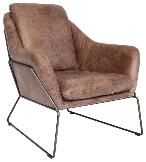 lionel leather lounge chair - industrial - indoor chaise lounge